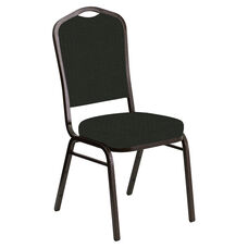 Embroidered Crown Back Banquet Chair in Interweave Black Fabric - Gold Vein Frame