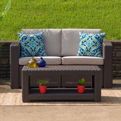 Our Chocolate Brown Faux Rattan Loveseat with All-Weather Beige Cushions is on sale now.