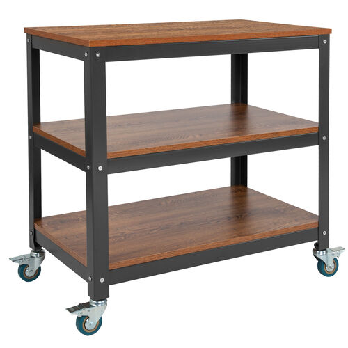 "Our Livingston Collection 30""W Rolling Storage Cart with Metal Wheels in Brown Oak Wood Grain Finish is on sale now."