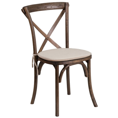 Our HERCULES Series Stackable Early American Wood Cross Back Chair with Cushion is on sale now.
