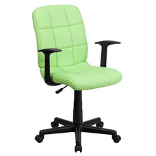 Mid-Back Green Quilted Vinyl Swivel Task Chair with Arms