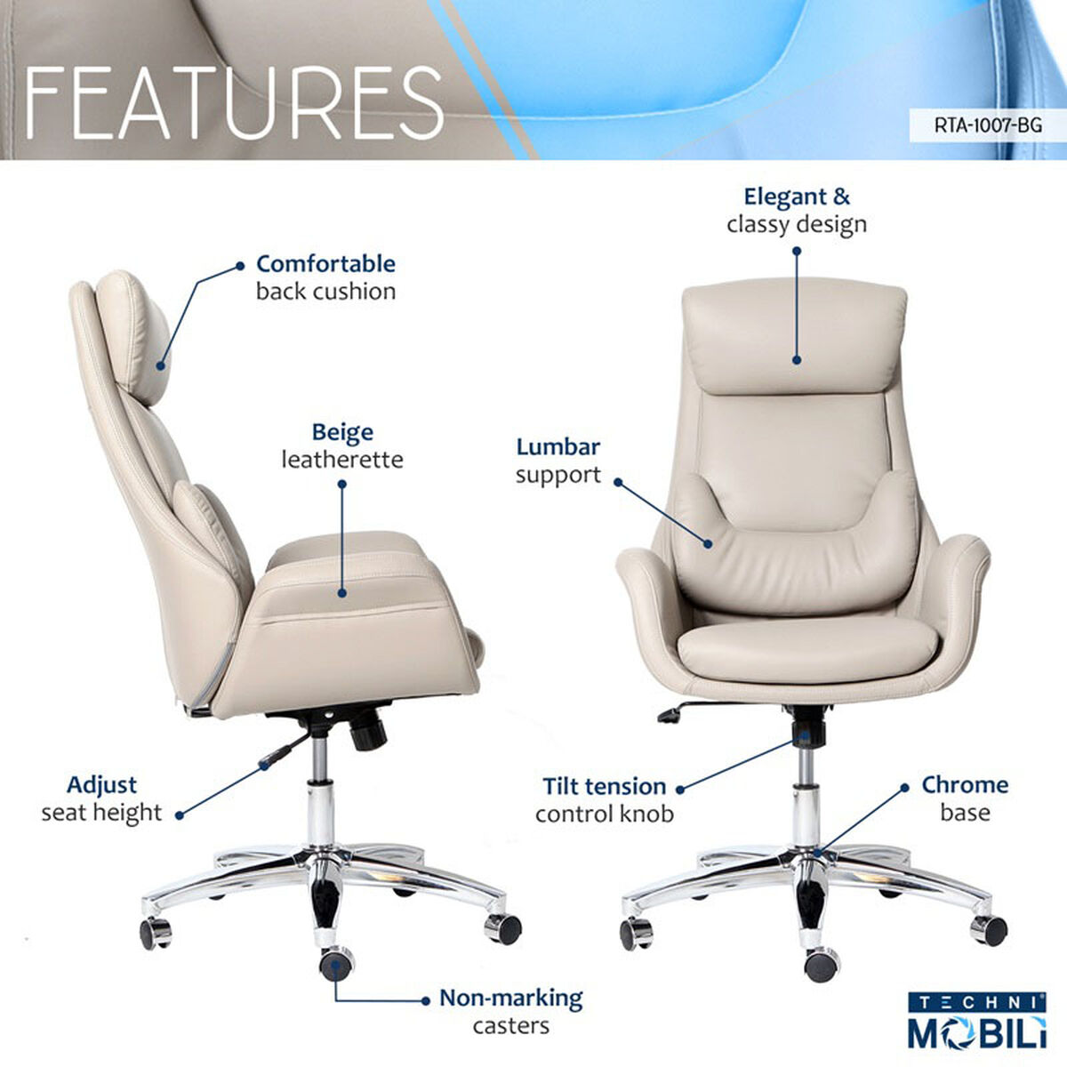 Our Techni Mobili Best Ergonomic Home Office Chair With Lumbar Support Beige Is On