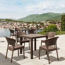 Daytona Outdoor Wickerlook Resin Square Dining Table with 4 Side Chairs - Brown