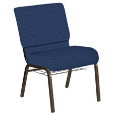 Embroidered 21''W Church Chair in Jewel Navy Fabric with Book Rack - Gold Vein Frame