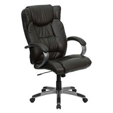 High Back Espresso Brown Leather Executive Swivel Office Chair with Titanium Nylon Base and Loop Arms