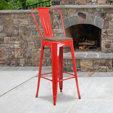 """30"""" High Red Metal Barstool with Back and Wood Seat"""
