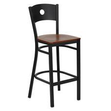 Black Circle Back Metal Restaurant Barstool with Cherry Wood Seat