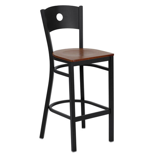 Our Black Circle Back Metal Restaurant Barstool with Cherry Wood Seat is on sale now.