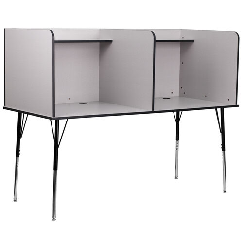 Our Double Wide Study Carrel with Adjustable Legs and Top Shelf in Nebula Grey Finish is on sale now.