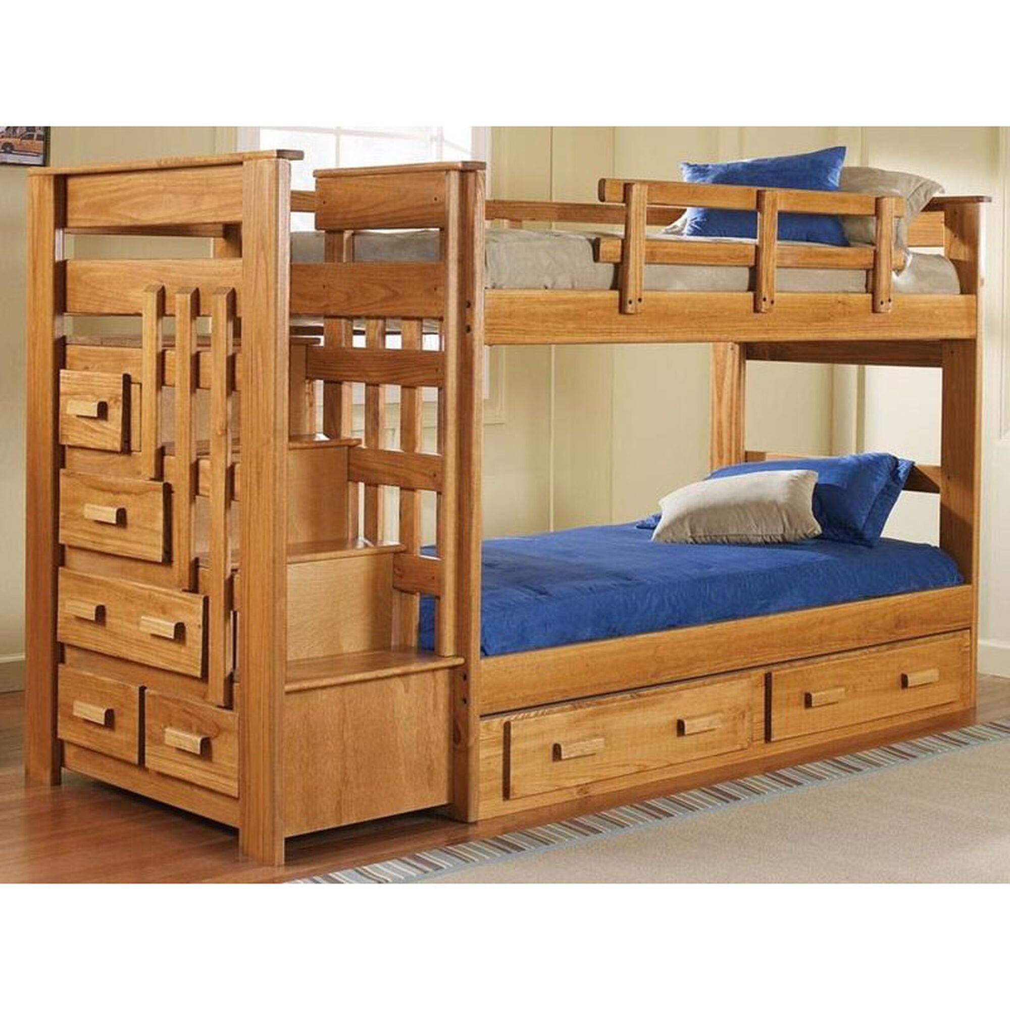 Chelsea Home Furniture Rustic Style Solid Pine Stairway Bed With Underbed Storage Twin Over