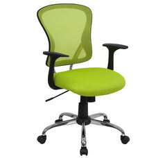 Mid-Back Green Mesh Swivel Task Chair with Chrome Base and Arms