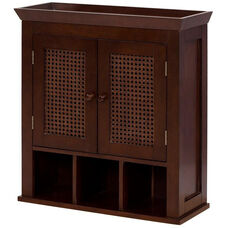 Cane Wall Cabinet with Two Doors and Cubbies - Espresso