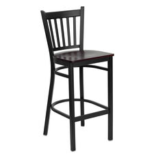 Black Vertical Back Metal Restaurant Barstool with Mahogany Wood Seat