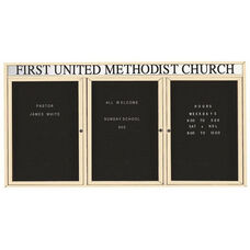 3 Door Outdoor Enclosed Directory Board with Header and Ivory Anodized Aluminum Frame - 48