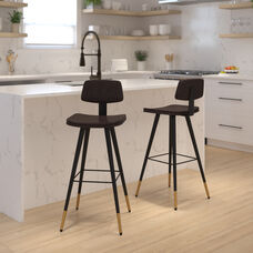 Kora Commercial Grade Low Back Barstools-Brown LeatherSoft Upholstery-Black Iron Frame-Integrated Footrest-Gold Tipped Legs-Set of 2