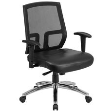 HERCULES Series Big & Tall 400 lb. Rated Black Mesh Mid-Back Executive Swivel Chair with Leather Seat and Arms