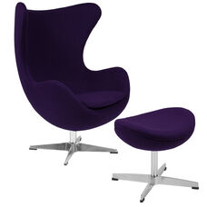 Purple Wool Fabric Egg Chair with Tilt-Lock Mechanism and Ottoman