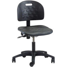 Industrial Specialty Black Polyurethane Task Chair with ABS Base and Dual Wheel Casters