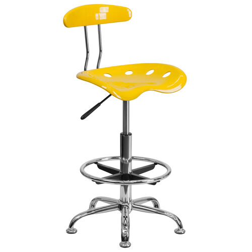 Our Vibrant Orange-Yellow and Chrome Drafting Stool with Tractor Seat is on sale now.