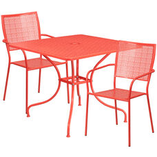 """Commercial Grade 35.5"""" Square Coral Indoor-Outdoor Steel Patio Table Set with 2 Square Back Chairs"""
