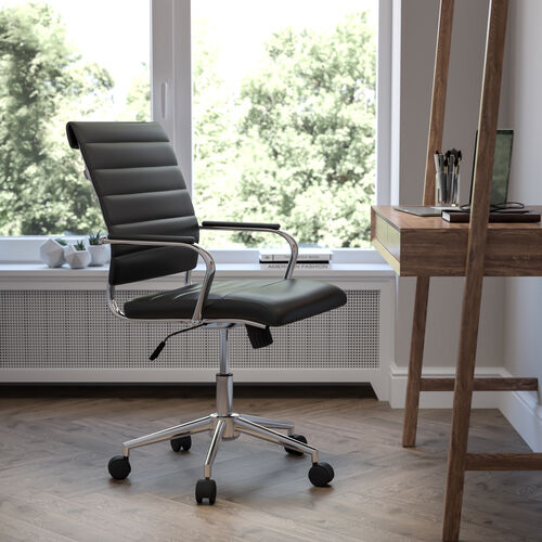 Mid-Back LeatherSoft Contemporary Ribbed Executive Swivel Office Chair