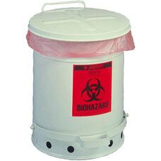 SoundGard™ 6 Gallon Steel Biohazard Waste Cans - White
