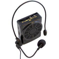 Black 15 Watt Waistband Amplifier with Headworn Microphone and Rechargeable Lithium Battery - 3.25