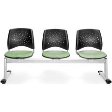 Stars 3-Beam Seating with 3 Fabric Seats - Sage Green