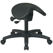 Work Smart Backless Stool with Saddle Seat - Black