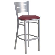 Silver Slat Back Metal Restaurant Barstool with Burgundy Vinyl Seat