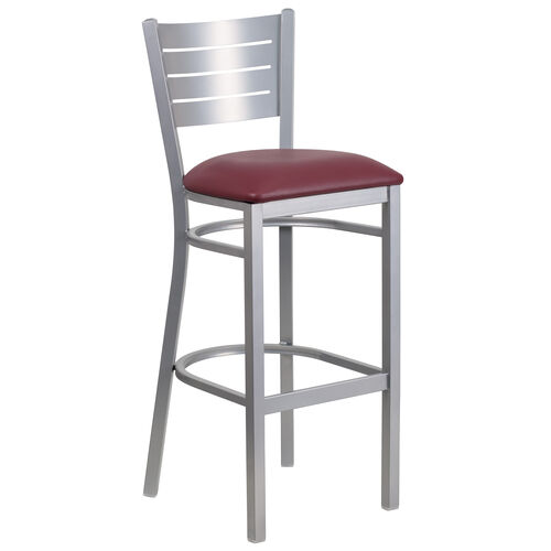 Our Silver Slat Back Metal Restaurant Barstool with Burgundy Vinyl Seat is on sale now.