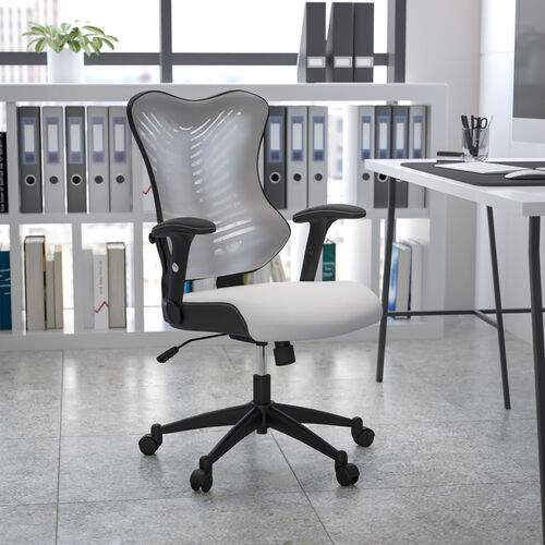 High Back Designer White Mesh Executive Swivel Ergonomic Office Chair with Adjustable Arms