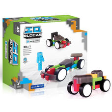 IO Blocks® Race Cars Set with Free IO Build App for Smartphone or Tablet - 48 Piece Set