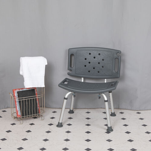 HERCULES Series Tool-Free and Quick Assembly, 300 Lb. Capacity, Adjustable Bath & Shower Chair with Extra Large Back