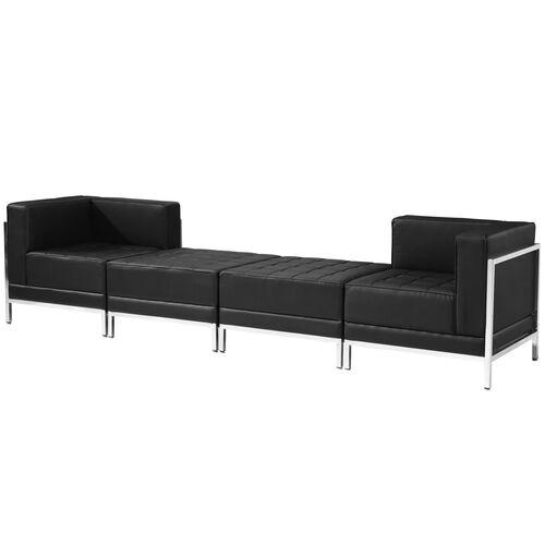 HERCULES Imagination Series Black LeatherSoft 4 Piece Chair & Ottoman Set