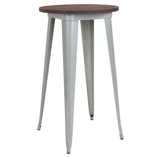 """Our 24"""" Round Silver Metal Indoor Bar Height Table with Walnut Rustic Wood Top is on sale now."""
