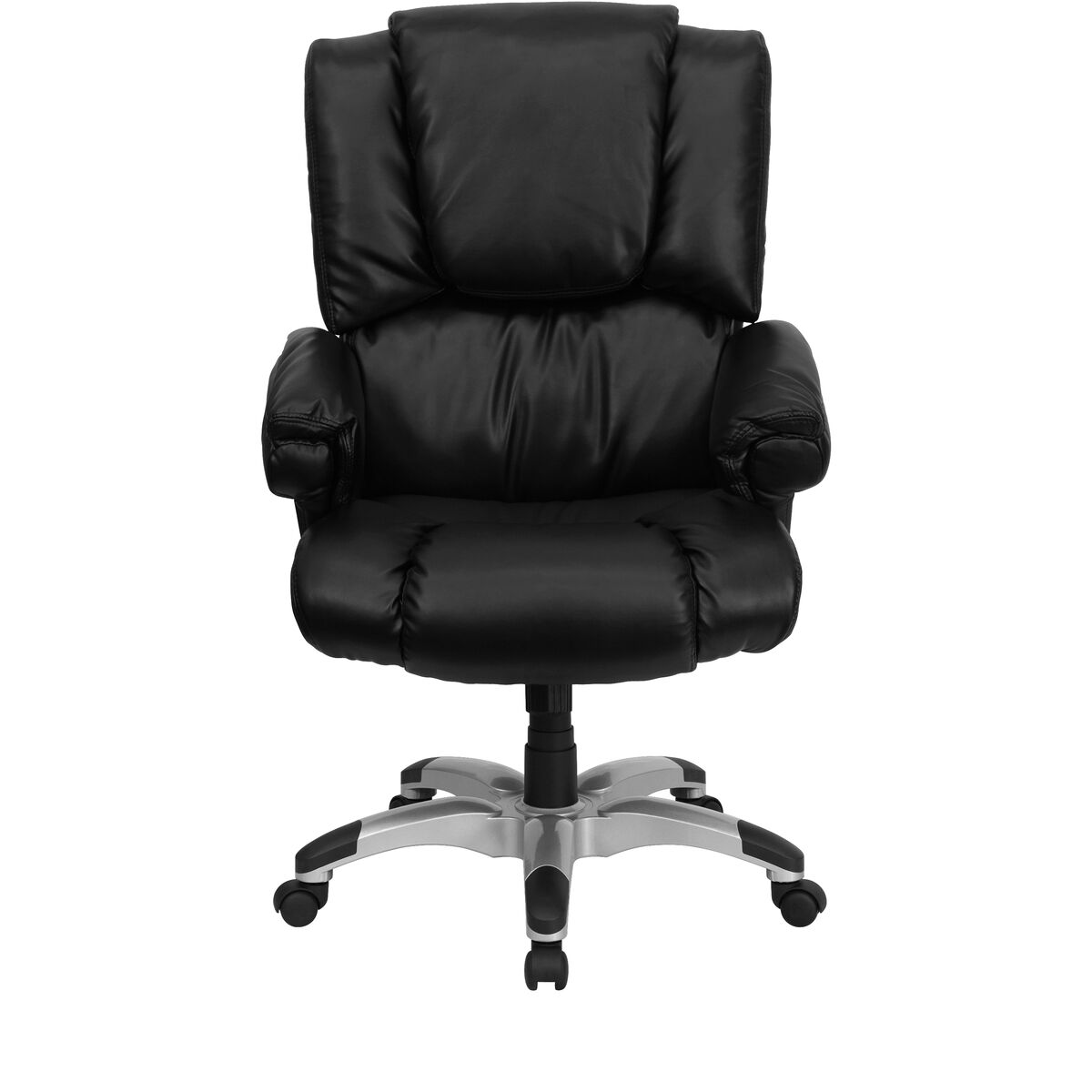Flash Furniture High Back Black Leather OverStuffed ... Black Office Chair Back View