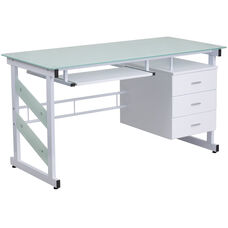 White Computer Desk with Frosted Glass Top and Three Drawer Pedestal