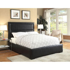 Salem Horizontal Tufted Faux Leather Storage Bed - Queen - Black