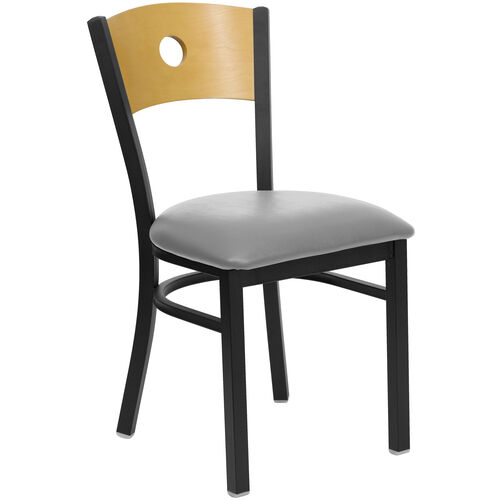 Our Black Circle Back Metal Restaurant Chair with Natural Wood Back & Custom Upholstered Seat is on sale now.
