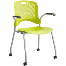 Sassy® Mobile Stack Chairs with Flexible S Wave Design - Set of Two - Grass with Silver Base
