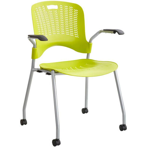 Our Sassy® Mobile Stack Chairs with Flexible S Wave Design - Set of Two - Grass with Silver Base is on sale now.