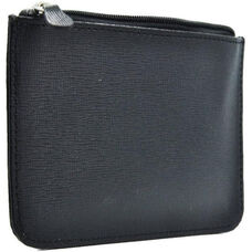 RFID Blocking Neat Pockets - Saffiano Genuine Leather - Black