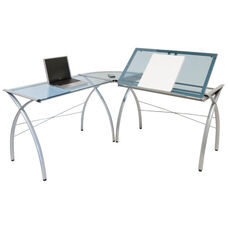 Futura Blue Tempered Glass and Steel Space Saving L Shaped Workcenter - Silver