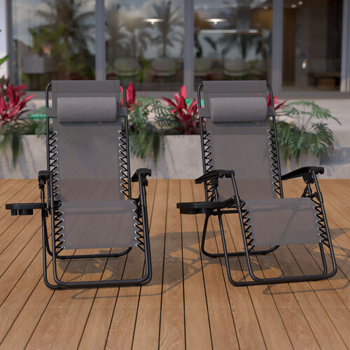 Adjustable Folding Mesh Zero Gravity Reclining Lounge Chair with Pillow and Cup Holder Tray in Gray, Set of 2