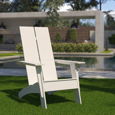 Sawyer Modern All-Weather Poly Resin Wood Adirondack Chair in White