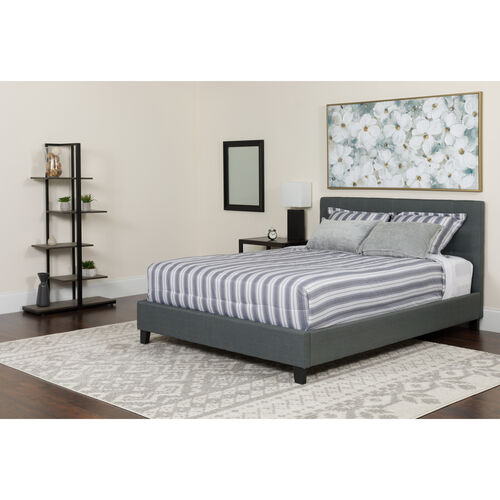 Our Chelsea Queen Size Upholstered Platform Bed in Dark Gray Fabric is on sale now.