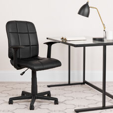 Mid-Back Black Quilted Vinyl Swivel Task Office Chair with Arms