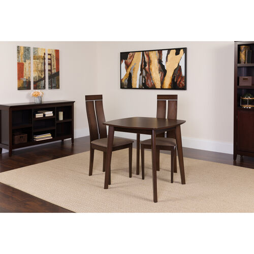 Our Glocester 3 Piece Espresso Wood Dining Table Set with Clean Line Wood Dining Chairs - Padded Seats is on sale now.