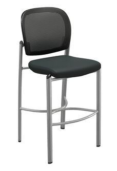 Valore Mesh and Fabric Stool - Set of 2 - Black Back and Seat